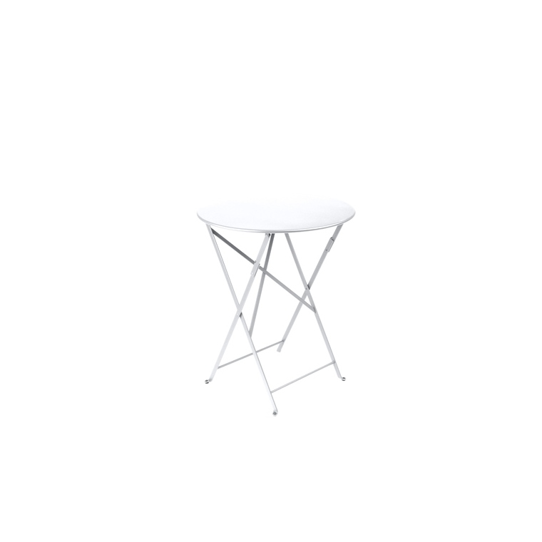 Table ronde pliante Bistro Fermob en acier coloris blanc coton Ø 60 cm 12884
