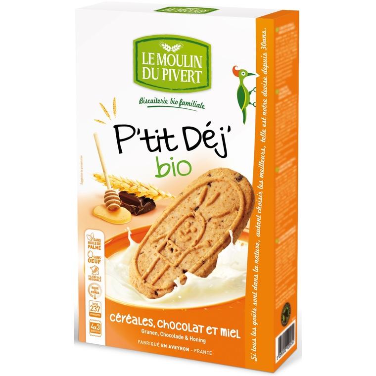 P'tit Dej Céréales, miel et chocolat bio 190 g LE MOULIN DU PIVERT 129092