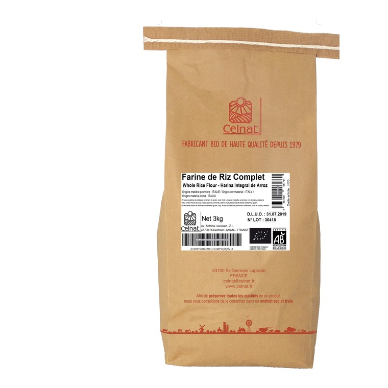Farine de riz complet bio en sachet de 3 kg 130336