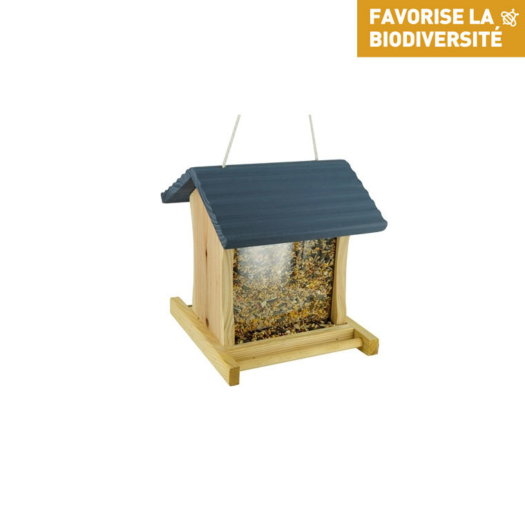Mangeoire chez tramber grise en bois 17 x 19 x 19,5 cm 13368