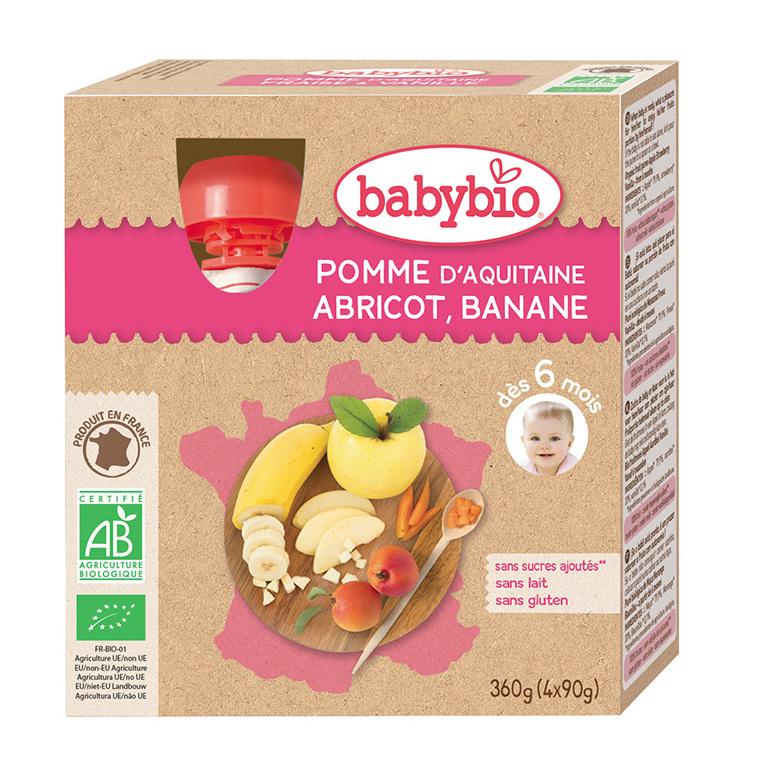 Gourdes Pomme Abricot Banane bio dès 6 mois - 4x90 gr 135607