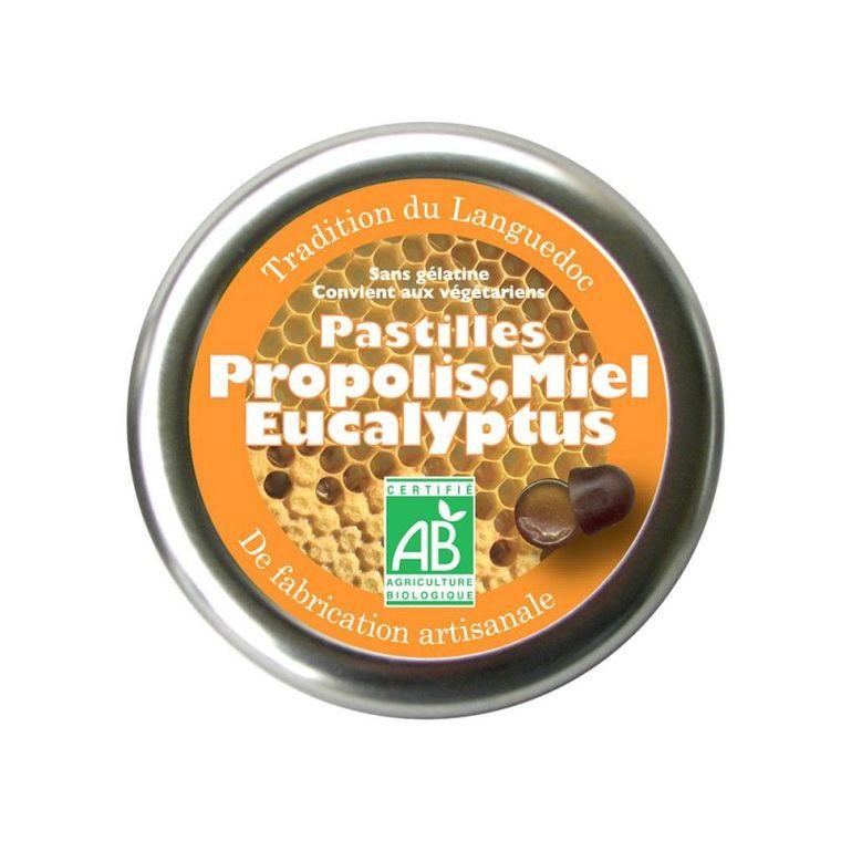 Pastilles au miel, propolis et eucalyptus bio en boite de 50 g