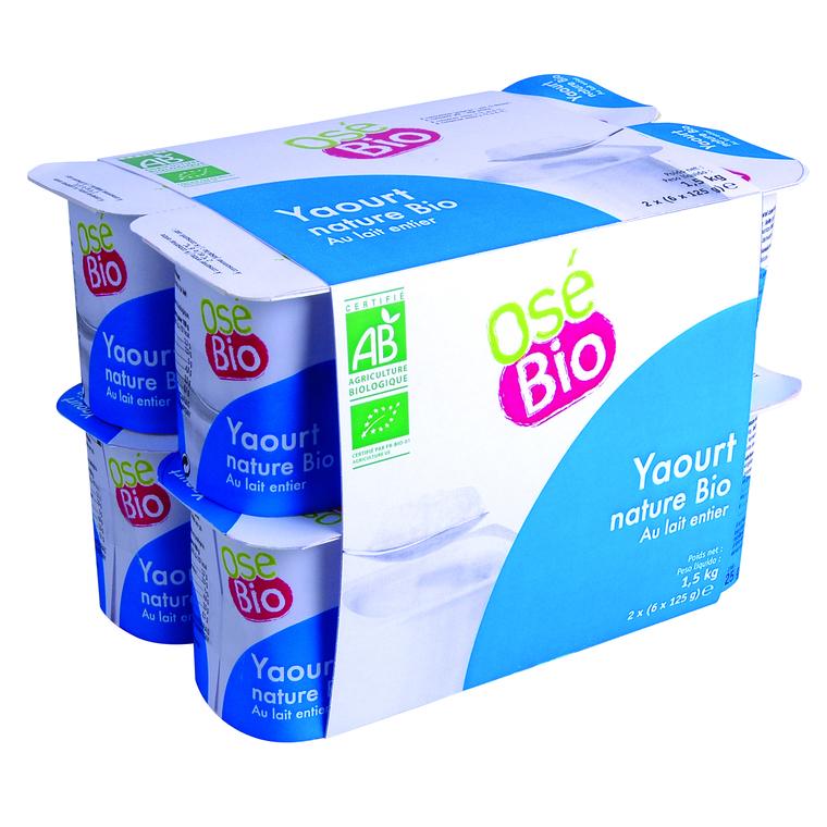 Yaourt nature au lait entier bio 12 x 125 g