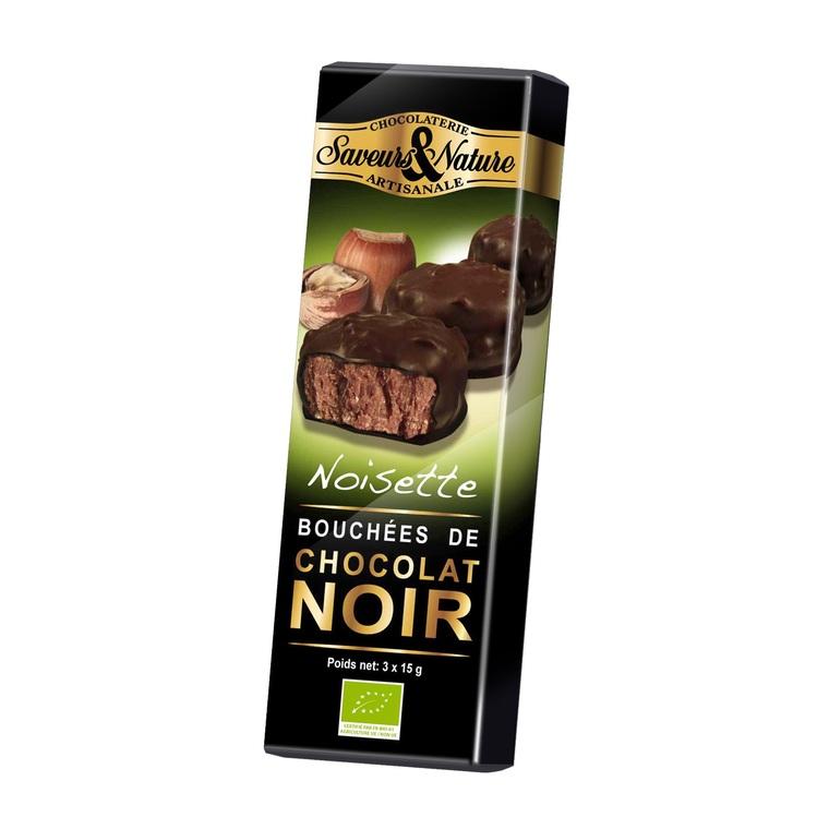 Minis rochers pralinés noisette enrobés de chocolat noir 45 g 154968