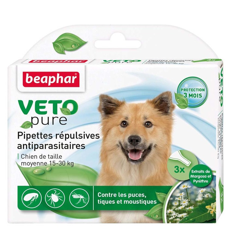 Pipettes chien 15-30kg x3 antiparasitaires Beaphar 155990