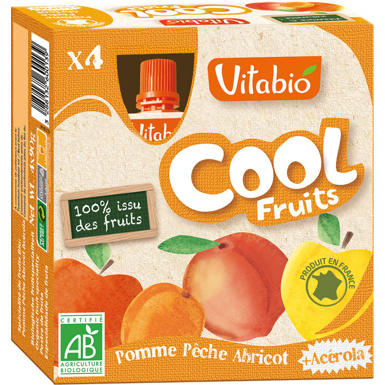 Cool Fruits Bio Pomme-Peche-Abricot 4 X 90 G VITABIO 159808