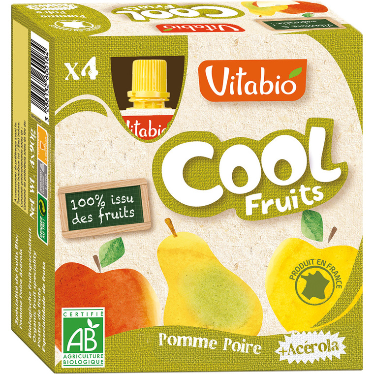 Cool Fruits Bio Pomme-Poire 4 X 90 G VITABIO 159810