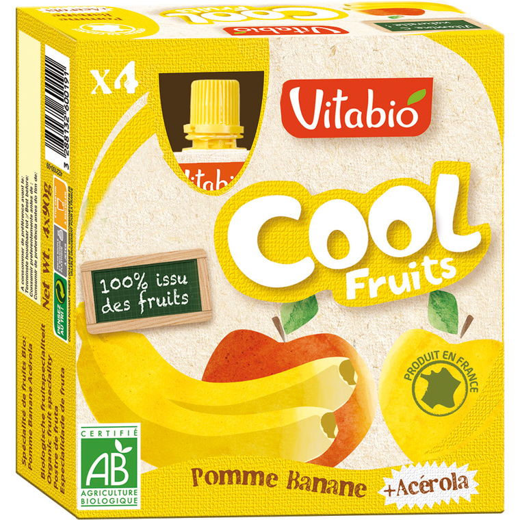 Cool Fruits bio Pomme/Banane 4 x 90 g VITABIO