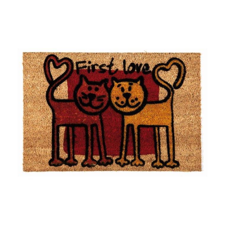 Paillasson Friends en fibres de coco rouge et jaune - 60 x 40 cm