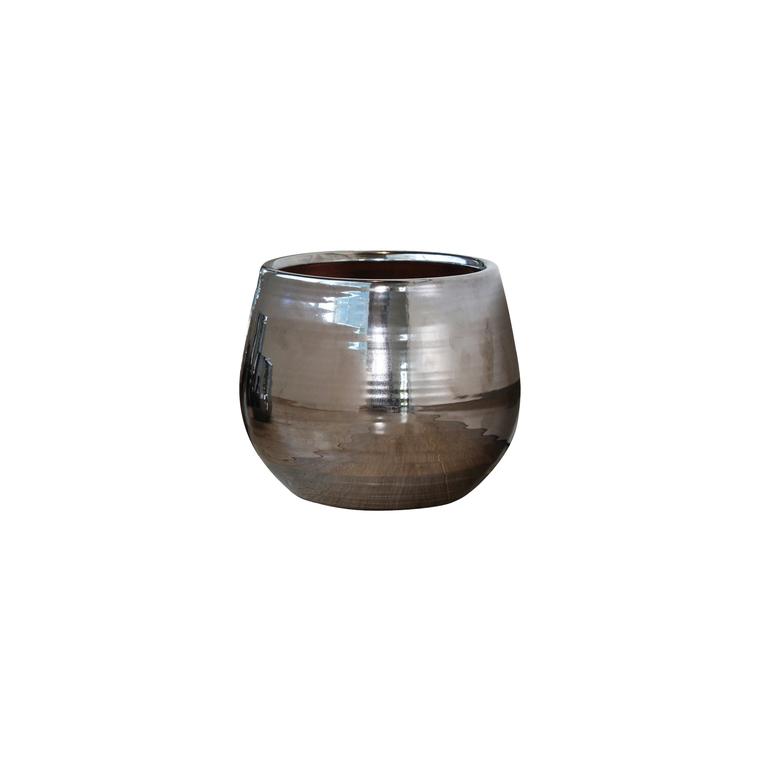 Pot Cancale coloris métal en terre cuite émaillée H 27 x Ø 25 cm 163286