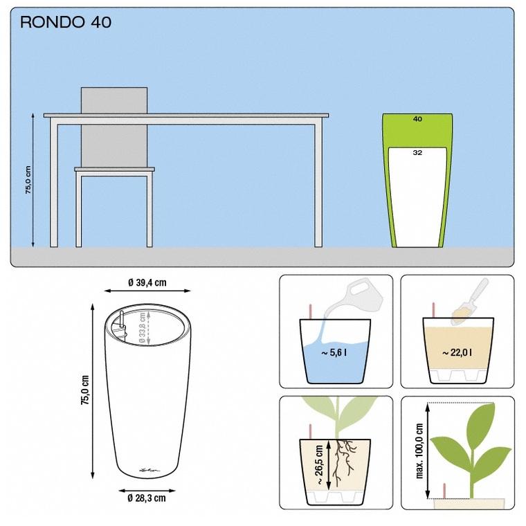 Pot à réserve d'eau Rondo Blanc Ø.40 x H.75 cm 163449
