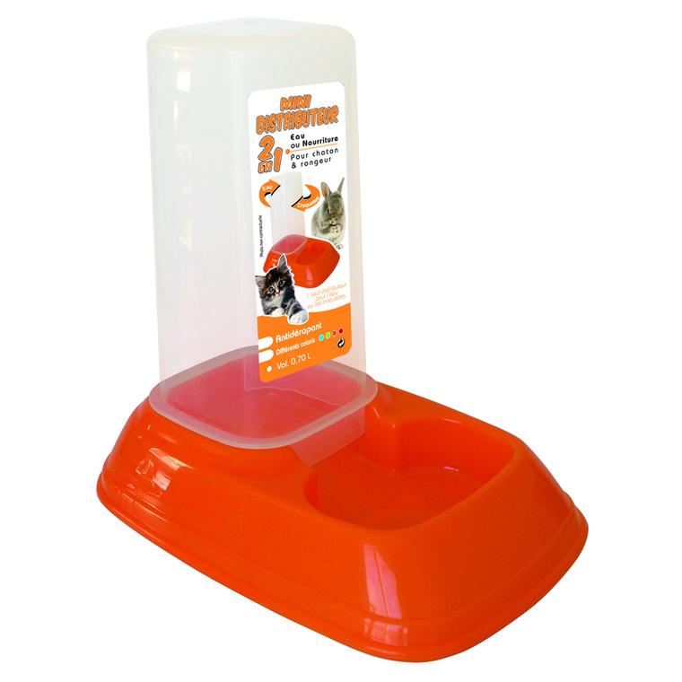 Mini distributeur d'eau ou de nourriture orange 0,7 L 167294