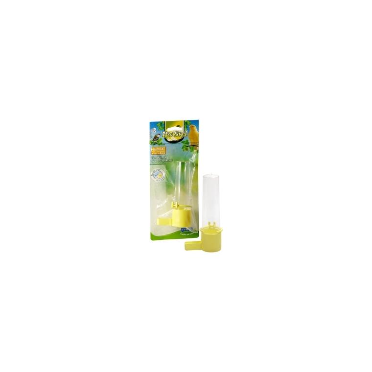 Fontaine double usage jaune pour oiseaux Ø3,2xH15 cm 167341