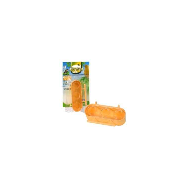 Mangeoire à 3 trous orange pour oiseaux Ø12,4x7xH3,5 cm 167344