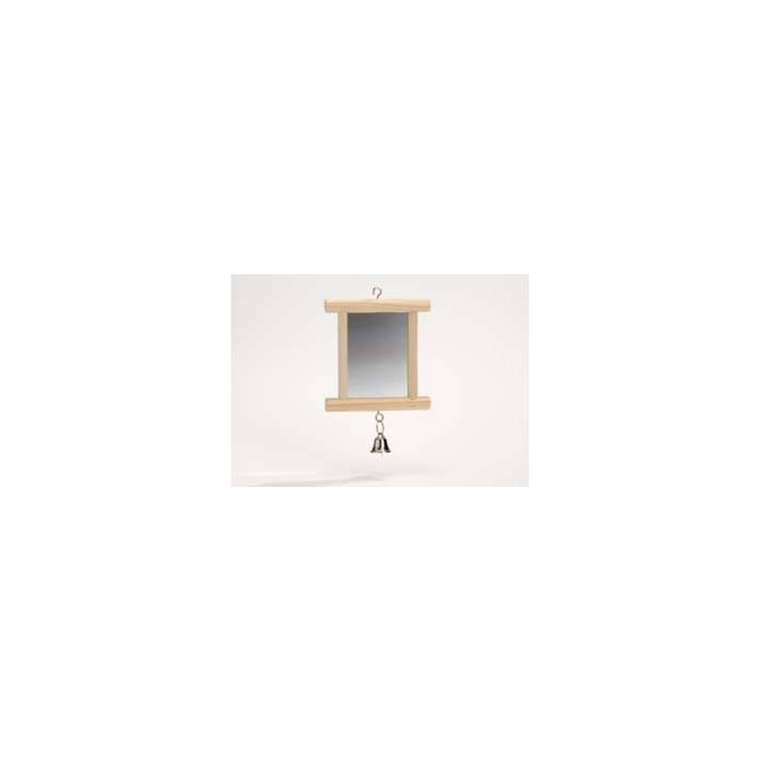 Miroir en bois pour oiseaux avec cloche 10,5x10 cm 167369