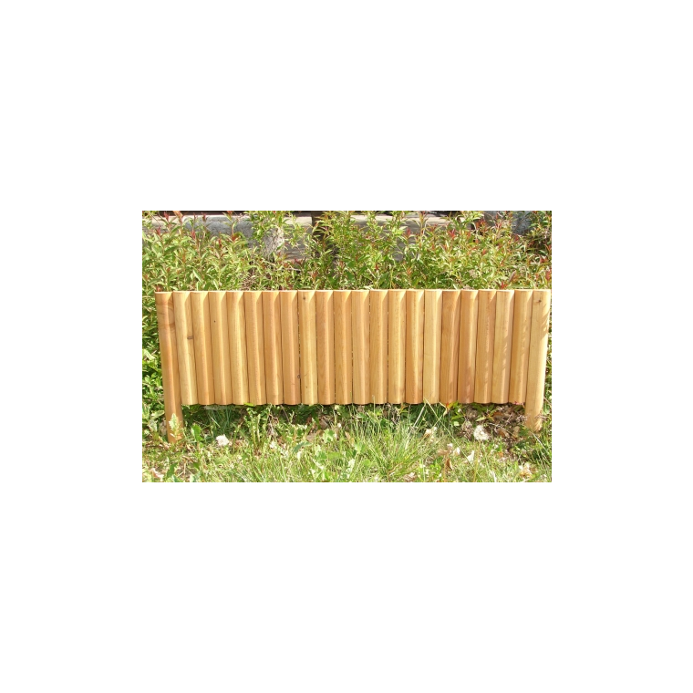 Bordure rigide 1/2 rondin vertical mélèze huilé 100 x 20 cm 167539