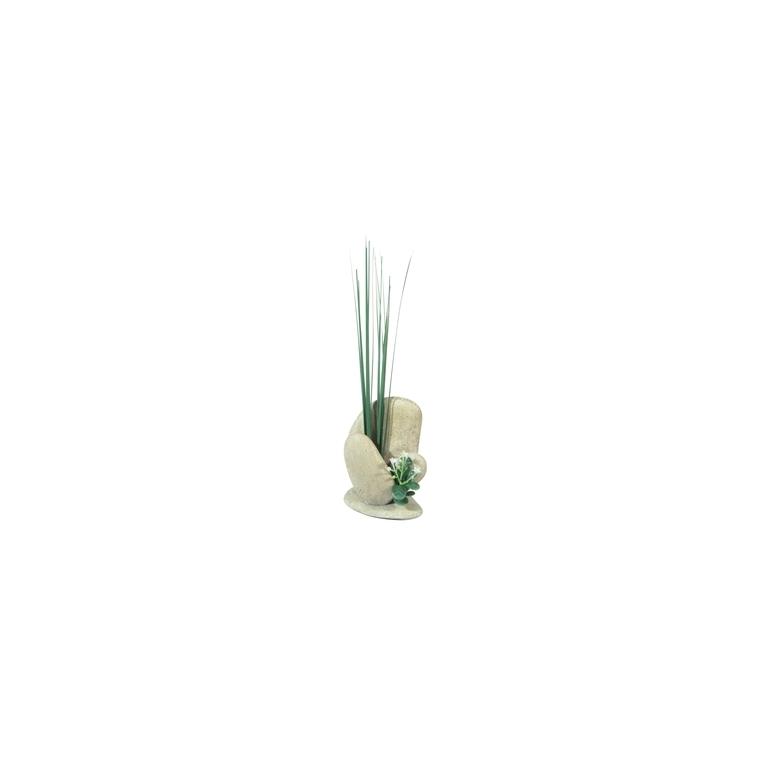 Décor de galets avec herbe pour aquarium L7xl5xh20 cm 168151