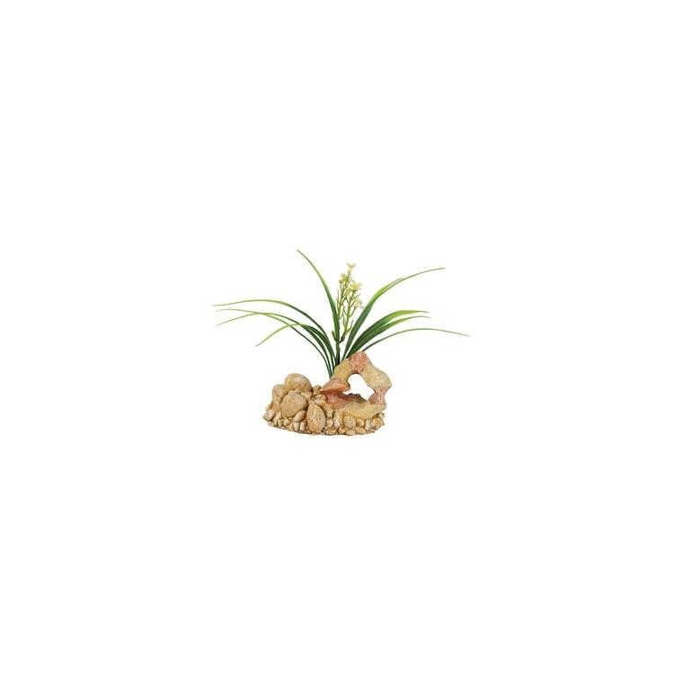 Décor de roche plantée taille 1 L12xl10xh15 cm