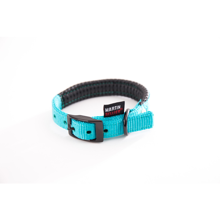 Collier droit Confort pour chien coloris turquoise - 1,6x35 cm 170231