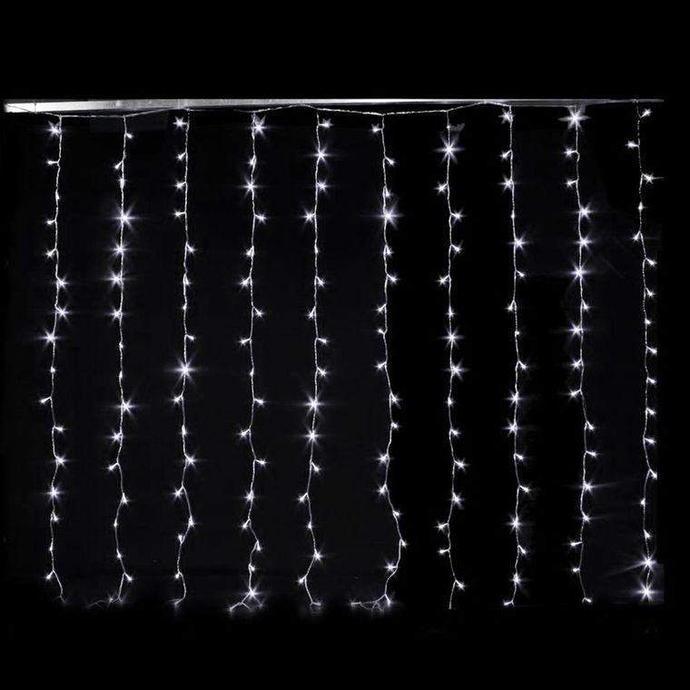 Rideau lumineux blanc 200 LED avec animateur 8 fonctions 2 m