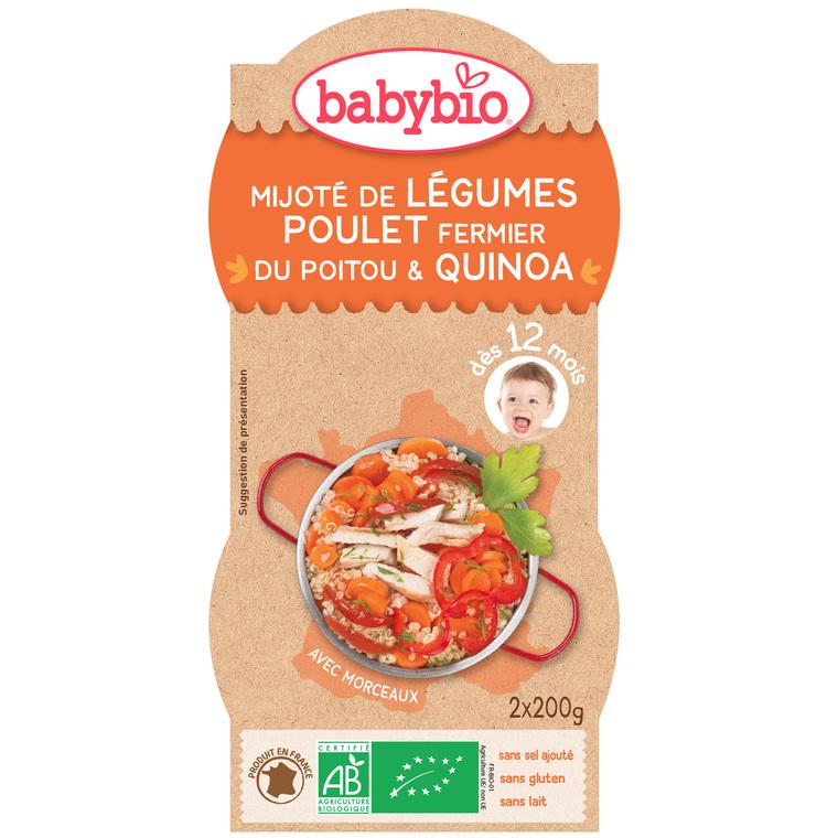 Mitonné de Légumes au Poulet Fermier et Quinoa 2 x 200 g BABYBIO 171293