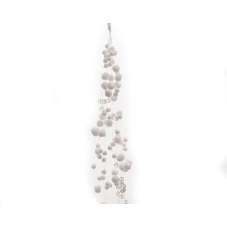 Guirlande boules de neige blanche à paillettes L 135cm