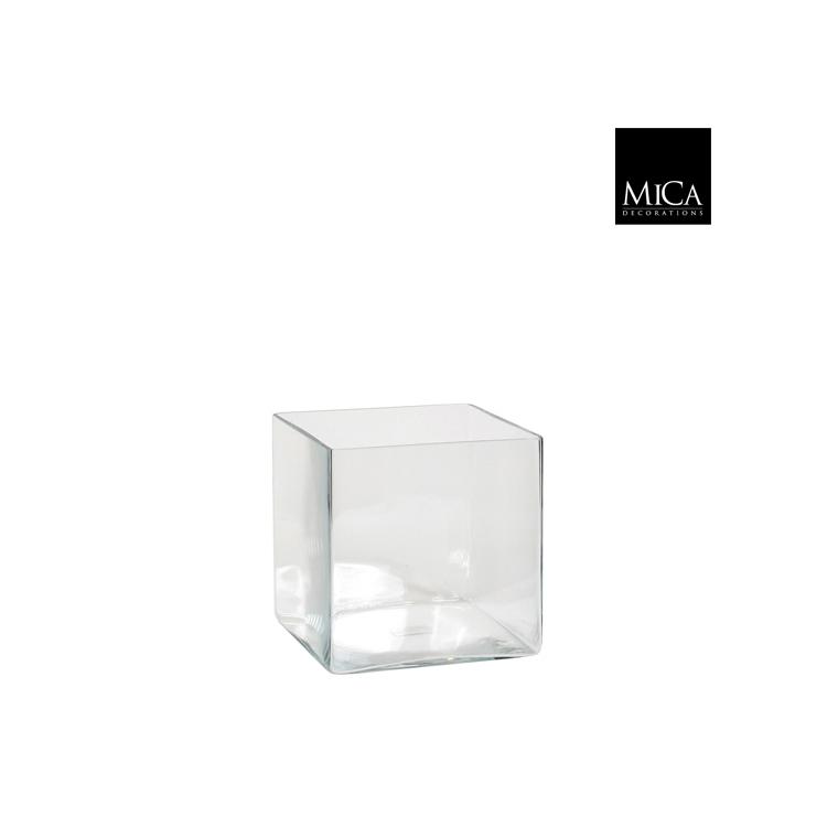 Vase Britt carré transparent en verre 18x18x18 cm 174559
