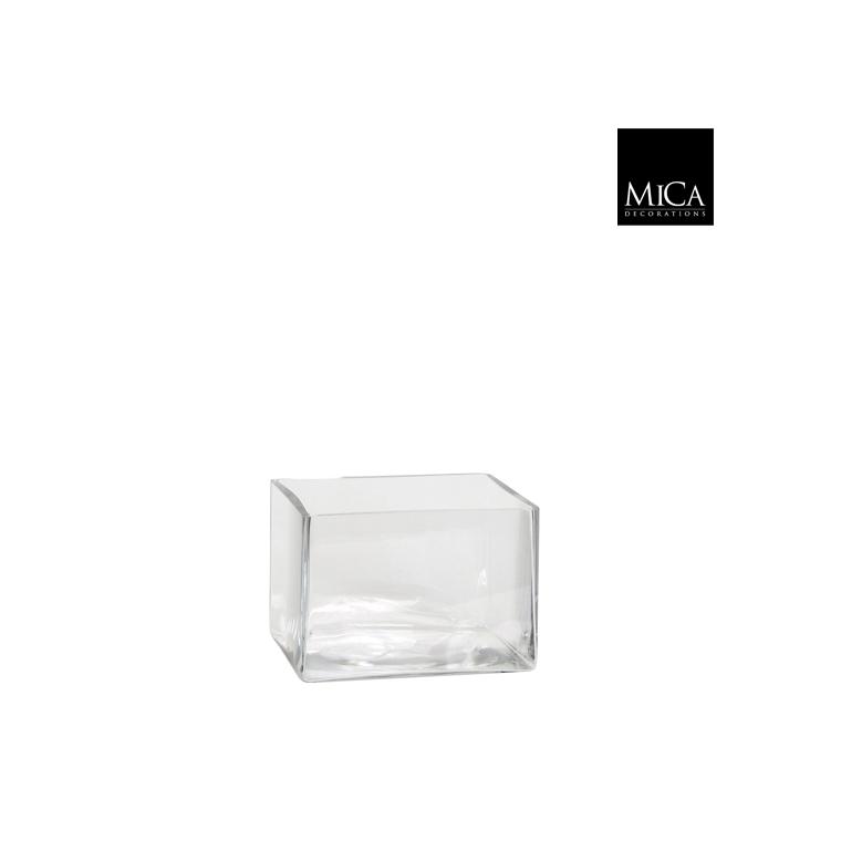 Vase Britt rectangulaire transparent en verre 20x16x14 cm 174566