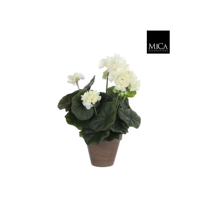 Géranium crème plante artificielle en pot H 34 x Ø 20 cm 174670