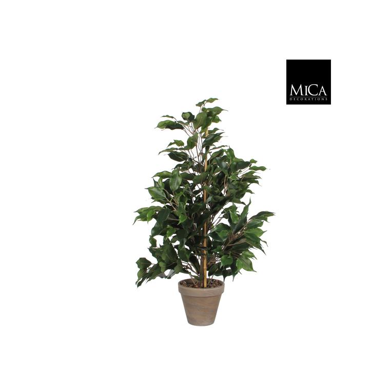 Ficus Exotica vert plante artificielle en pot gris H 65 x Ø 40 cm 174684