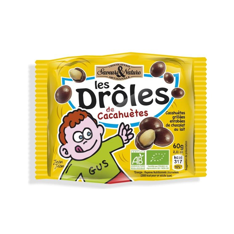 Drôles de cacahuètes au chocolat lait bio en sachet de 60 g 175078