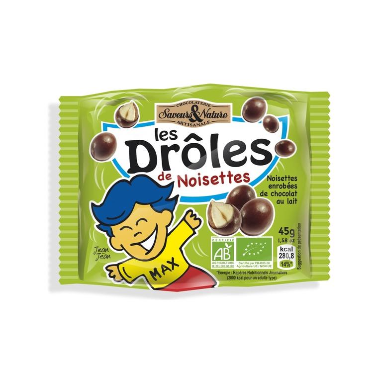 Drôles de noisettes toastées au chocolat lait bio en sachet de 45 g 175079