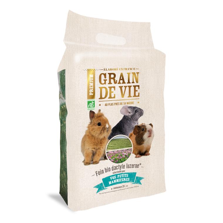 Foin bio dactyle luzerne petits mammifères Grain de vie® - 25L 185963