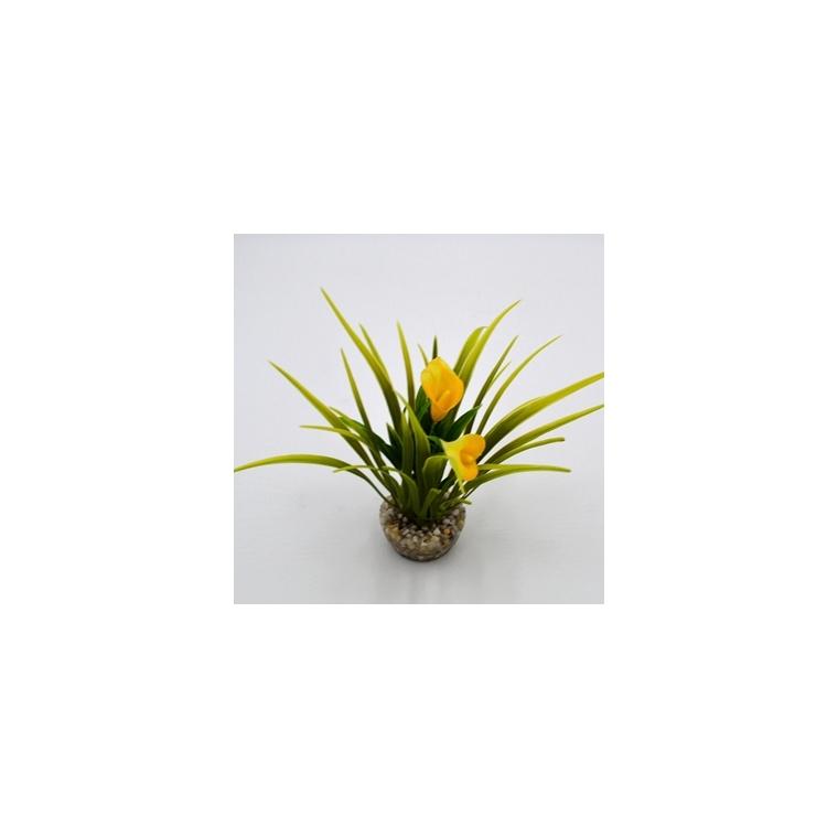 Buisson de fleurs jaunes en plastique 8 x 8 cm 186531