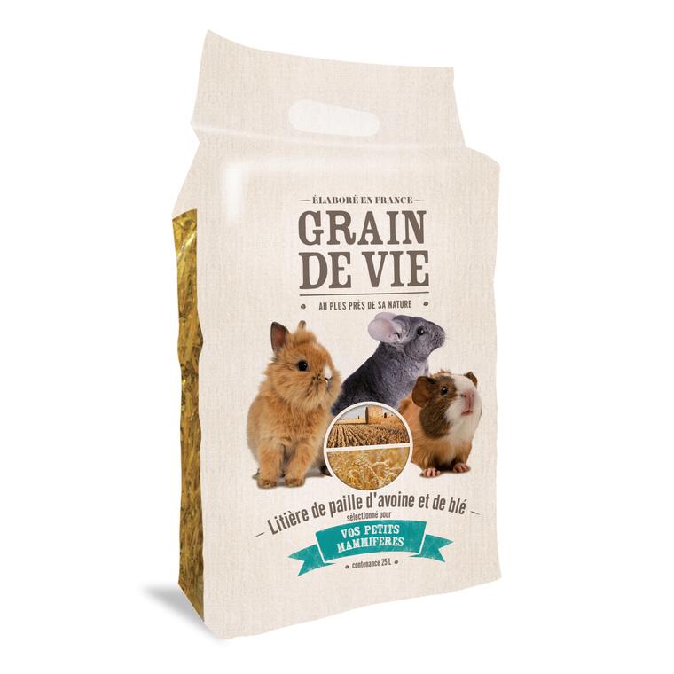 Litière de paille d'avoine et de blé petits mammifères Grain de vie® - 25L 187384