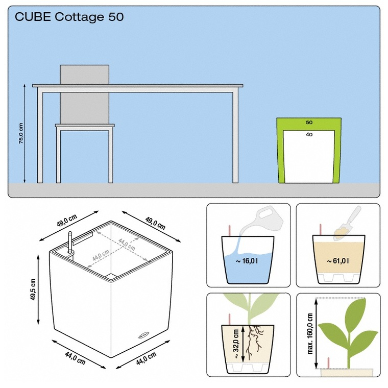 Pot Cube 50cm Cottage kit complet D.50x H49 cm Lechuza 188125
