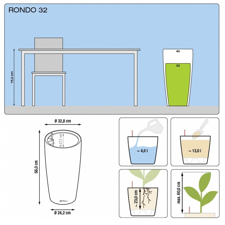 Pot à réserve d'eau Rondo Blanc Ø.32 x H.56 cm 188134