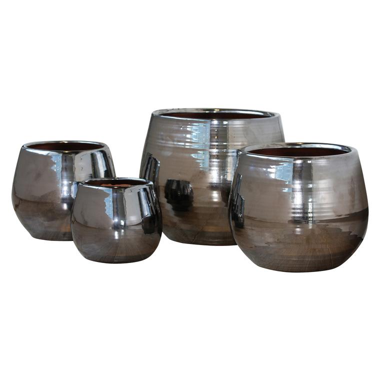 Pot Cancale coloris métal en terre cuite émaillée H 14 x Ø 14 cm 188364