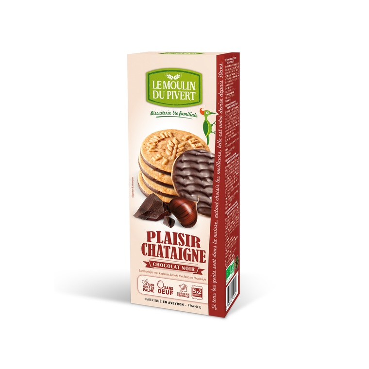 Plaisir châtaigne nappé de chocolat noir bio en paquet de 130 g 196511