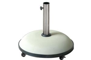 Pied de parasol en béton sur roulettes blanc 196589