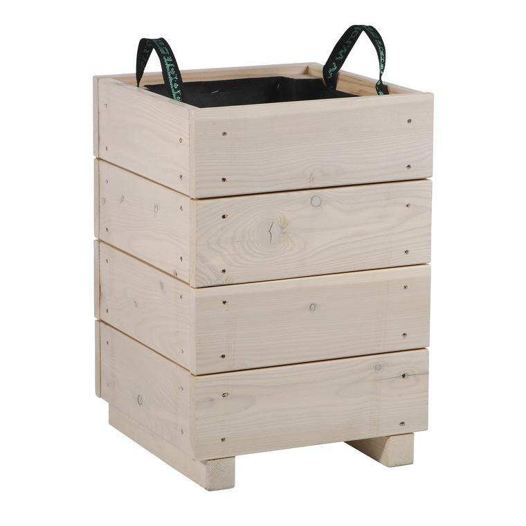 Bac City mélèze cérusé blanc 36x36x50 cm