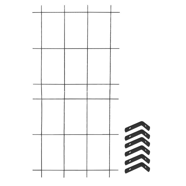Treillage colonne 2 éléments + 6 équerres fixations gris souris 1,60x75 197871