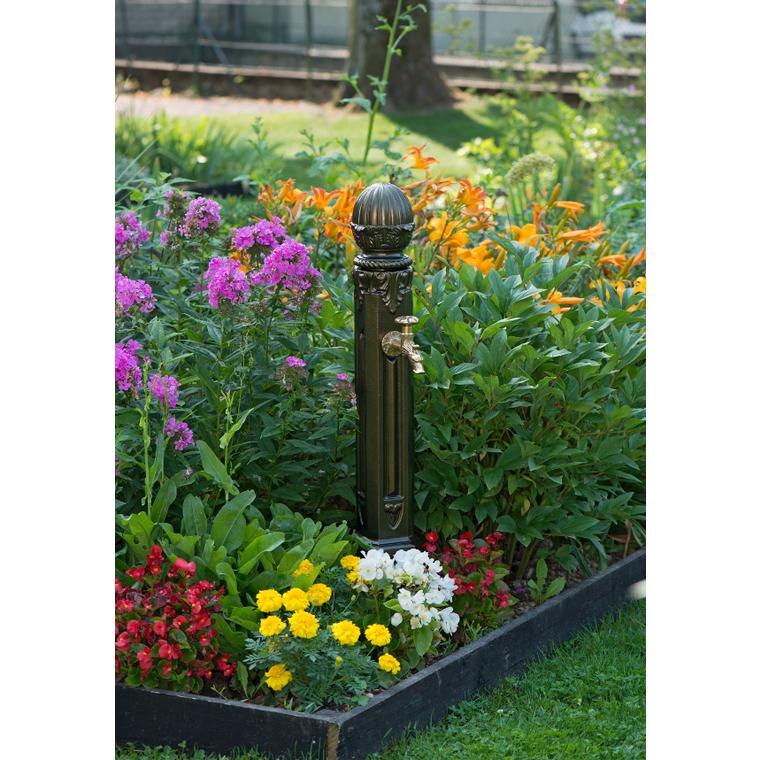 Borne-fontaine Griffon sans vasque couleur vieux bronze – 100 cm de haut