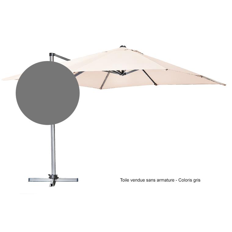 Toile Pour Parasol Déporté 300 Cm X 300 Cm Gris Tonnelles