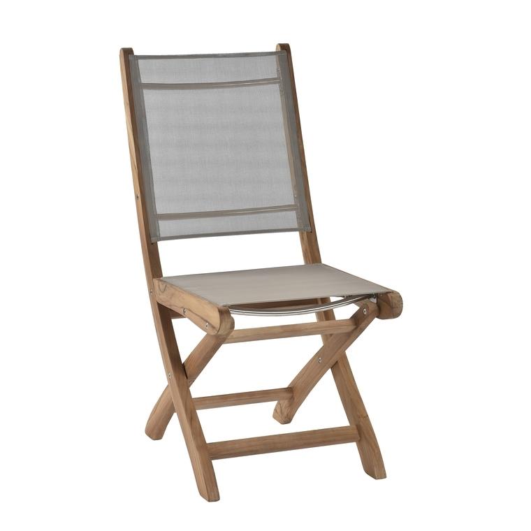 Chaise pliante COSTA en teck et en textilène : Chaises de ...