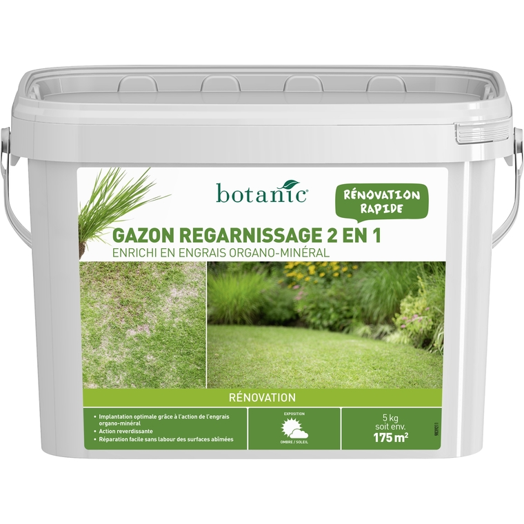 gazon r novation 2 en 1 avec engrais 5 kg semences de gazon botanic jardin botanic. Black Bedroom Furniture Sets. Home Design Ideas