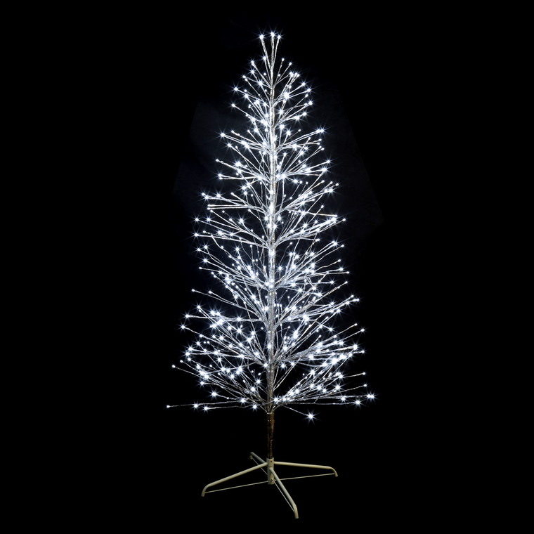 sapin lumineux branches m tal argent h180cm 490 led blanc. Black Bedroom Furniture Sets. Home Design Ideas