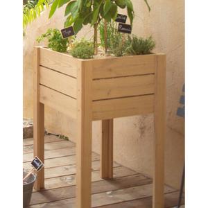potager sur lev en bois de chataignier l 50 x l 50 x h 80 cm structures potager balcon et. Black Bedroom Furniture Sets. Home Design Ideas