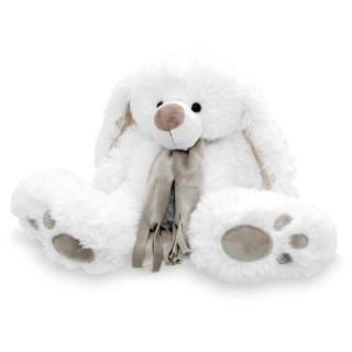 Lapin blanc, écharpe beige Hauteur 80cm 211338