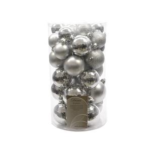 Boules de Noël argent mat et brillant tailles assorties boite de 30 212519